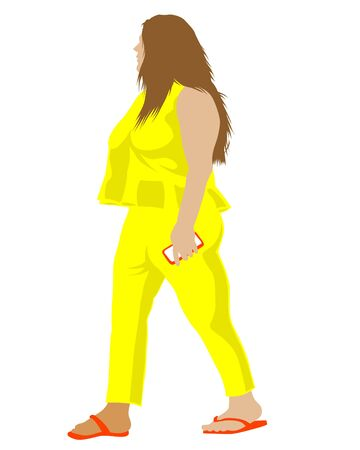 Ilustración de Young woman in street clothes on a white background - Imagen libre de derechos