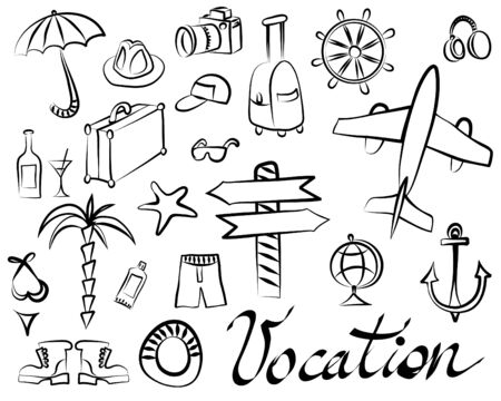 Illustration pour Schematic drawings of things for recreation and tourism on a white background - image libre de droit