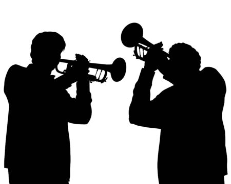 Illustration pour Two trumpeters play at a concert. Silhouettes of musicians on a white background - image libre de droit