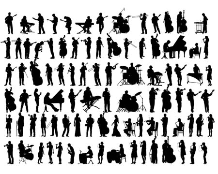 Illustration for Jazz musicians with instruments on stage. Isolated silhouettes of people on a white background - Royalty Free Image