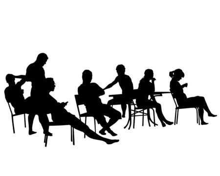 Illustration pour People in urban cafe. Isolated silhouettes of people on a white background - image libre de droit