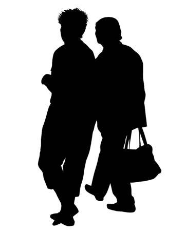 Illustration pour Elderly woman and man with a stick is walking down street. Isolated silhouette on a white background - image libre de droit