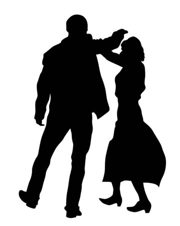 Illustration for Young man and woman walking at street. Isolated silhouette on a white background - Royalty Free Image