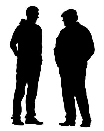 Illustration pour Two men are standing and talking. Isolated silhouettes on a white background - image libre de droit
