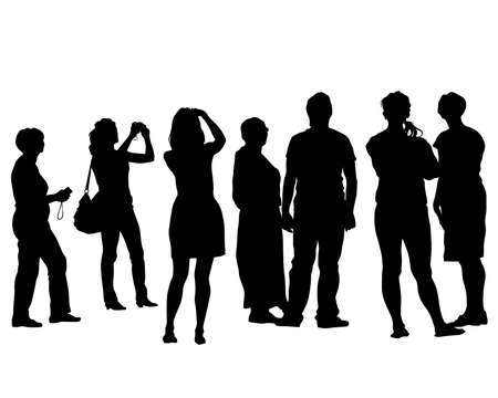 Photo pour Tourists with smartphones in their hands take pictures of themselves. Isolated silhouettes on white background - image libre de droit