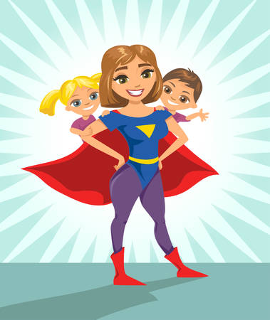 Illustration for Super hero, super mom. Happy smiling super mother with her children. Vector illustration with isolated characters. - Royalty Free Image