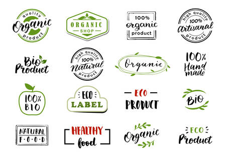 Illustration for Hand drawn lettering and calligraphy for natural product logos, labels and icons. Collection of organic and bio elements. - Royalty Free Image
