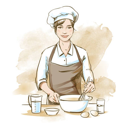 Illustration pour Smiling and happy female chef. Woman chef is cooking with whisk. Hand drawn vector illustration on artistic watercolor background. - image libre de droit