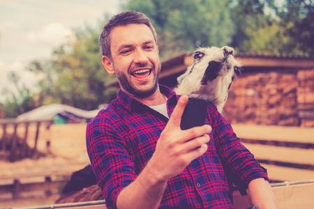 Selfie with llama. Cheerful young man making selfie with llama on his smart phone while standing in the zoo