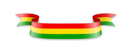 Bolivia flag in the form of wave ribbon. Vector illustration.