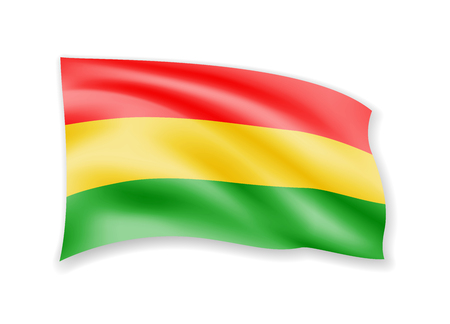 Waving Bolivia flag on white. Flag in the wind vector illustration.