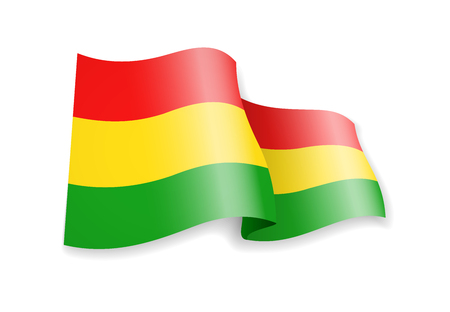 Bolivia flag in the wind. Flag on white background vector illustration