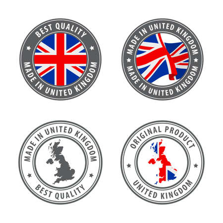 Illustration for Made in United Kingdom - set of labels, stamps, badges, with the United Kingdom map and flag. Best quality. Original product. Vector illustration - Royalty Free Image