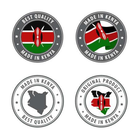 Illustration for Made in Kenya - set of labels, stamps, badges, with the Kenya map and flag. Best quality. Original product. Vector illustration - Royalty Free Image