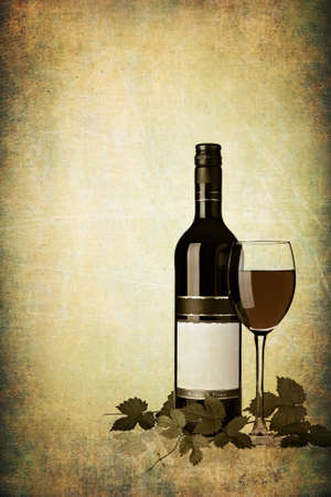 Bottle of red wine with glass on grunge textured background