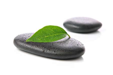 Zen basalt stones with leaf