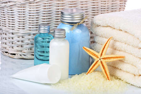 Skin care cosmetics and towels and bag