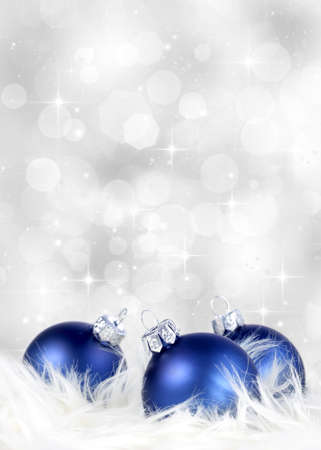 Photo for Blue ornaments on billowy feathers against a silver background - Royalty Free Image