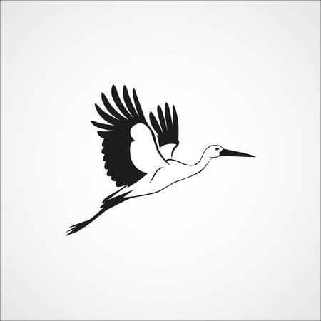 Ilustración de flying stork simple silhouette on a white background vector illustration - Imagen libre de derechos