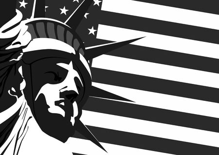 Fragment of Statue of Liberty against the U.S. flag.