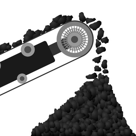 Coal arriving on a conveyor belt and poured into the coal pile  Illustration on white background