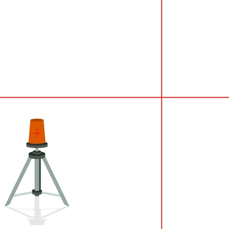 Modern laser device to set the exact level horizontally and vertically. The illustration on a white background.