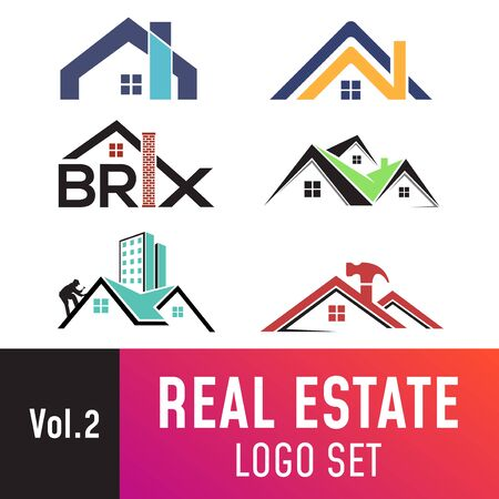 Illustration for Set of real estate template, suitable for real estate, property, roofing, and construction related business. - Royalty Free Image