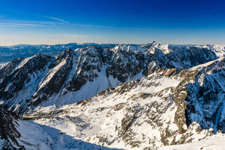 Great mountain panorama seen on a sunny winter day.