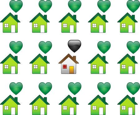 Ecological Houses and regular polutant houses
