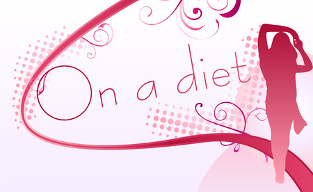 Girl silhouette over an on a diet sign