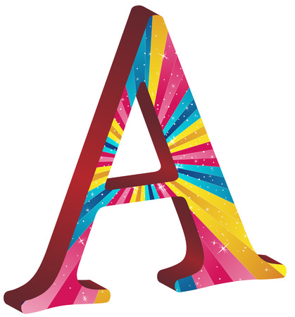 Colored alphabet with stripes and stars