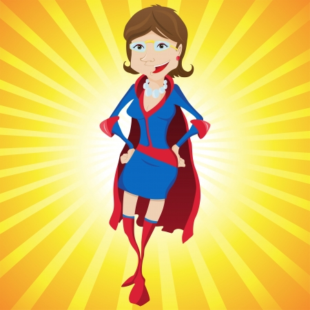 Super Woman Mother Cartoon with Yellow Background. Editable Illustration
