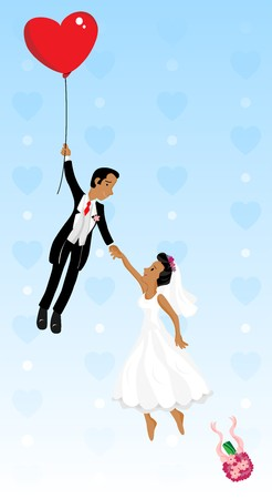 Illustration pour Just married black couple flying with a heart shaped balloon. Highly detailed  image. - image libre de droit