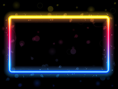 Rainbow Rectangle Border with Sparkles and Swirls. Editable  Illustration
