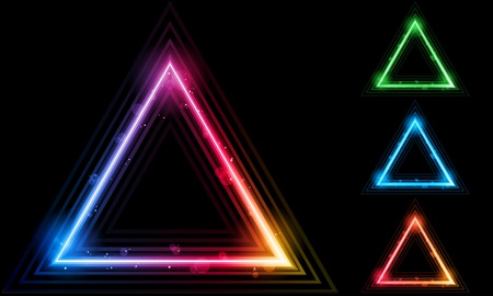 Vector - Set of  Neon Laser Triangle Border