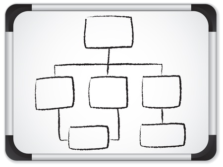 Illustration pour Vector - Organization chart whiteboard written in black background. - image libre de droit