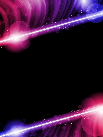 Illustration for  Disco Abstract Colorful Waves on Black Background - Royalty Free Image