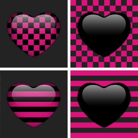 Set of Four Glossy Emoticons Hearts  Pink and Black Chess and Stripes