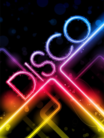 Disco Abstract Colorful Lines on Black Background