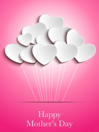 Vector - Happy Mother Day Heart Background