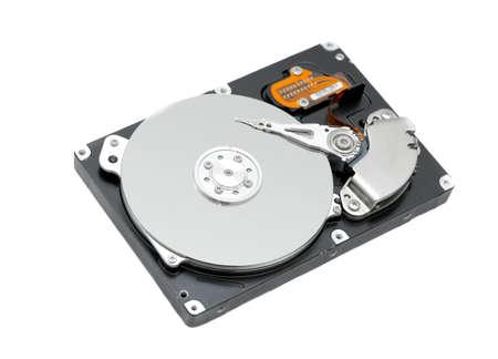 Open harddisk isolated on white background