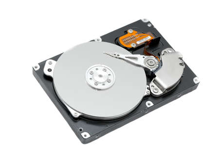 Photo pour Open harddisk isolated on white background - image libre de droit