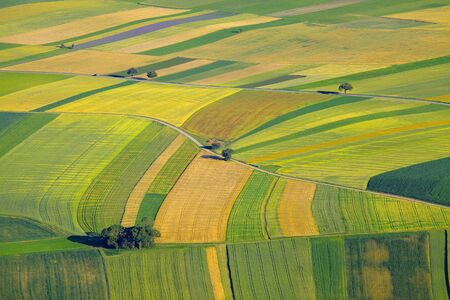 Photo pour Aerial view of agricultural fields - image libre de droit