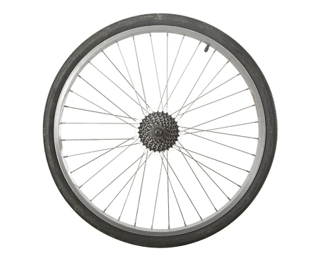 Photo pour Bicycle wheel isolated with transmission gears - image libre de droit