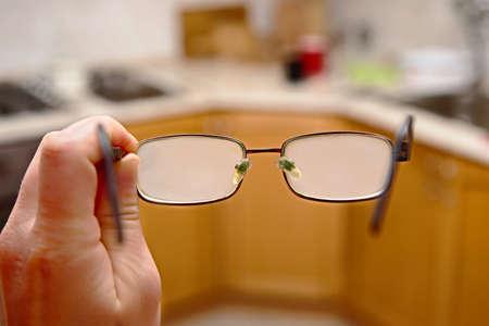Photo pour Glasses fogged with moisture after cold outside weather - image libre de droit