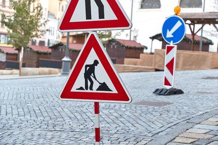 Photo pour Urban construction site with warning signs - image libre de droit