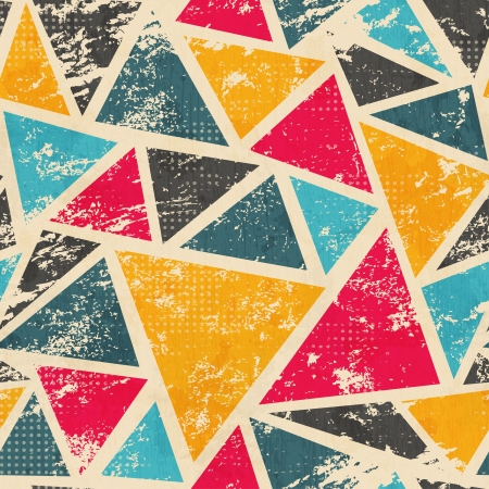 Illustration for grunge colored triangle seamless pattern - Royalty Free Image