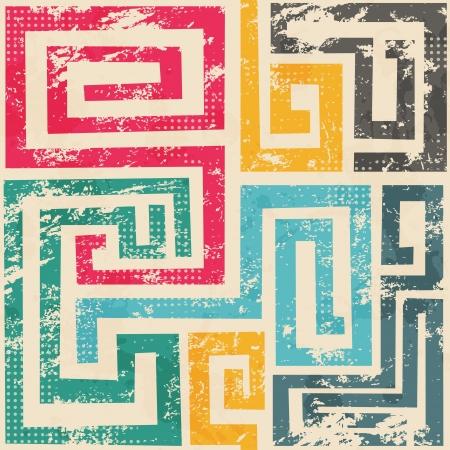Ilustración de vintage spiral seamless patter with grunge effect - Imagen libre de derechos