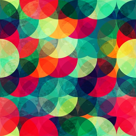 colorful circle seamless pattern with grunge effect