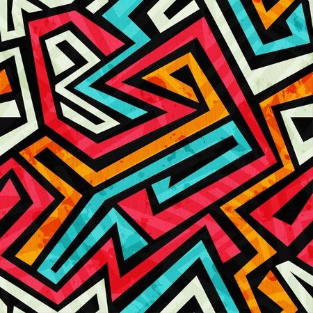 Illustration pour graffiti tribal seamless texture with grunge effect - image libre de droit